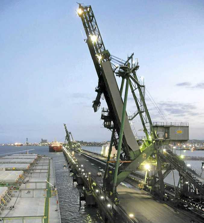 Coal ship Brilliant Venus comes in to dock at the RG Tanna Coal Terminal in Gladstone Harbour.