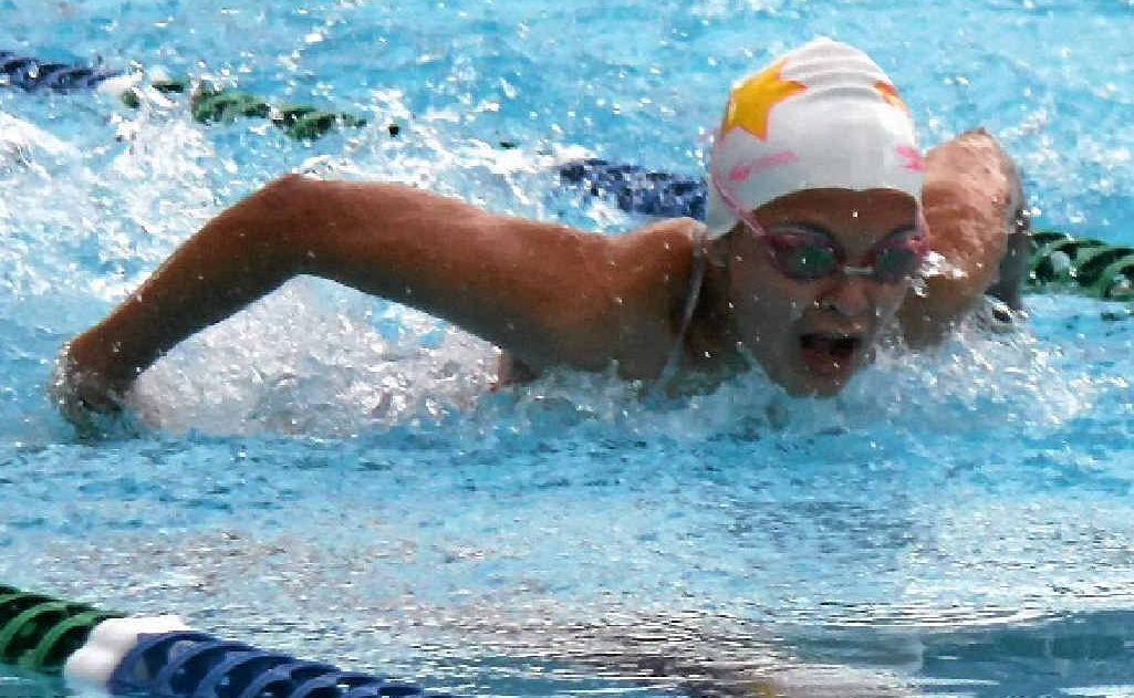 Warwick's Aimee Van der Hulst, 13, in the girls 50m butterfly.