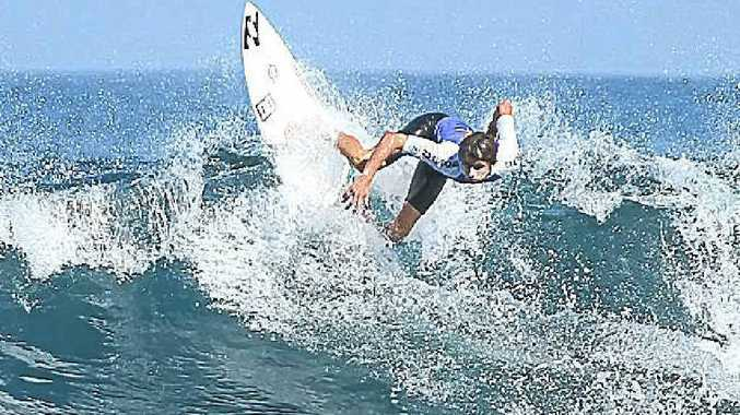 Jeames Young, of Angourie, competing in the U/16 Boys' final in the Billabong Taj's Small Fries in Western Australia.