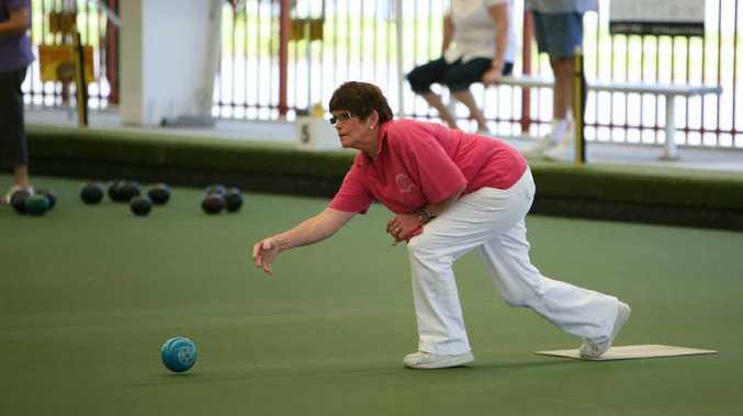 Sandra Dooley bowling at City Bowls Club.