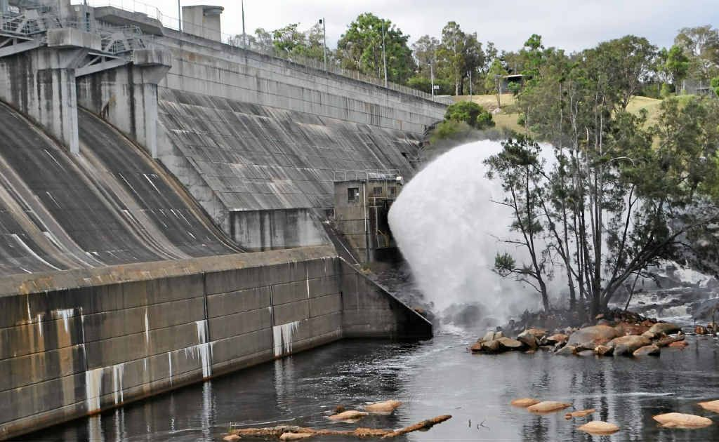 The spray of water being released from Leslie Dam.