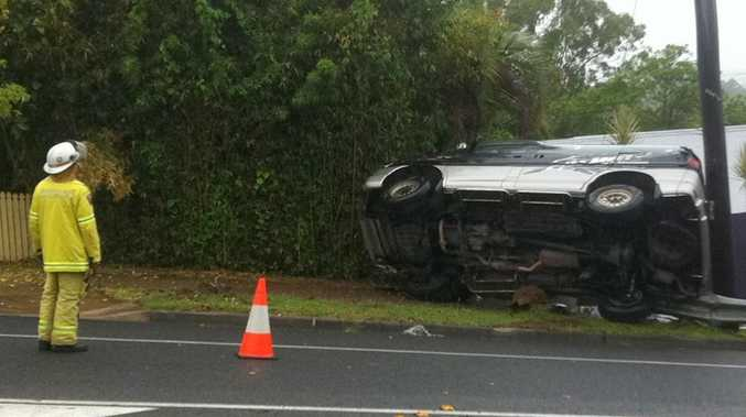 A car crashes into a power pole on Mooloolaba Rd at Buderim.
