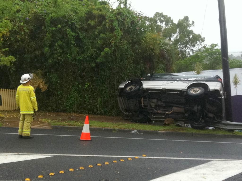 A car crashes into a power pole on Mooloolaba Rd at Buderim.