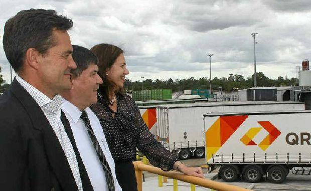 PLEASED WITH PROGRESS: Mark Johnston, Peter Garske and Transport Minister Annastacia Palaszczuk.