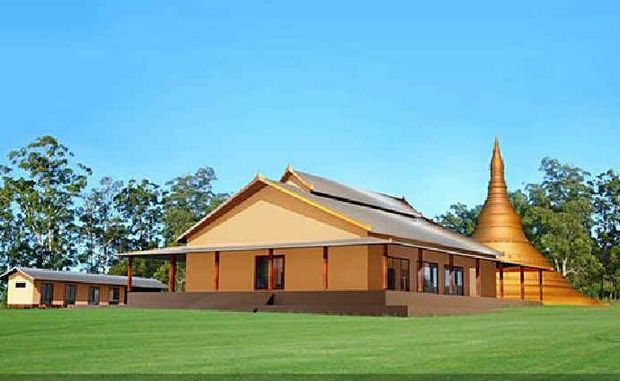 An artist's impression of the proposed Buddhist retreat at Tullera.