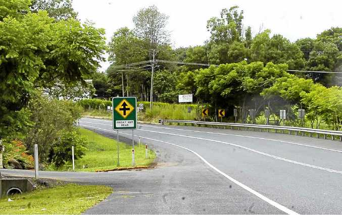 The scene of a crash on Bangalow Rd, near Friday Hut Rd.