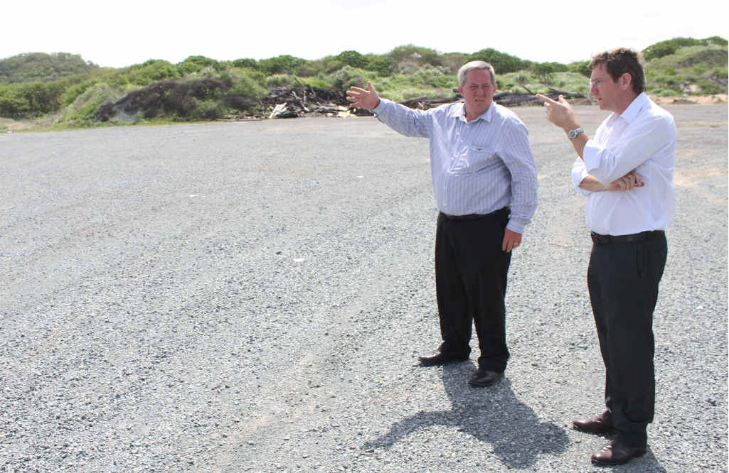 Member for Mackay Tim Mulherin (left) and NQBP's Jeff Stewart-Harris discuss the multi-million dollar facility to be built at the Port of Mackay.
