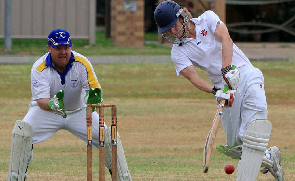 Central Highlands' marksman Cameron Keene blasts his way to 96 runs in the victorious representative clash against Gladstone in Emerald on Sunday. Photo: Terry Hill