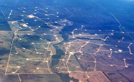 YES OR NO: A photo of CSG mines near Chinchilla shows the extent of the industry near the town.