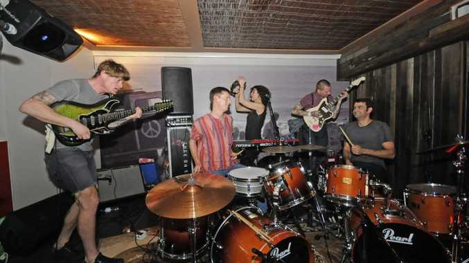 Performing at Woody's Surf shack on Tuesday night Thee OH Sees (from left) John Dwyer vocals,Mike Shoun Drums,Bridget Dawson on Keys, Petey Dannit guitar,and Lars Finberg on Drums.