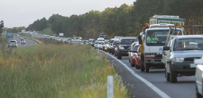 The Bruce Highway following a car crash.