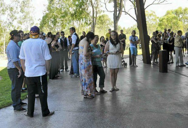 Mourners attend the funeral service for Brandon John Matthews at Boyne Island Crematorium.
