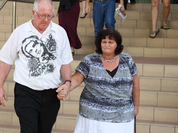 Linda Watson, the mother of Joelean Watson, and her partner leaving the Rockhampton Courthouse.