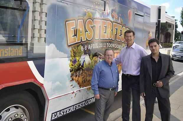 Robbie Harrop (left), Peter Taylor and Drew Vallejos celebrate the news a free public bus service will be running in Toowoomba during Easterfest.