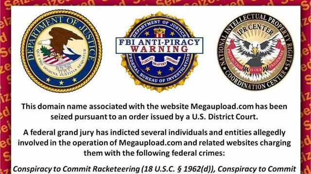 This notice replaces the once-famous Megauploads.com website after the FBI arrested its owners.