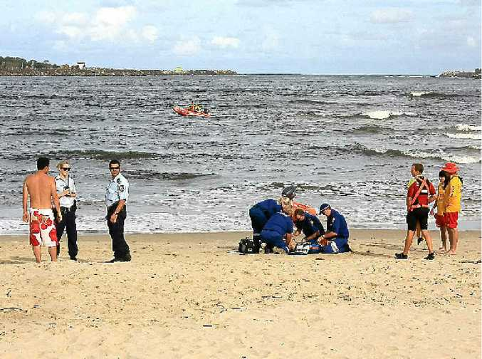 Rescuers on the Richmond River after the drowning. Oscar Williams