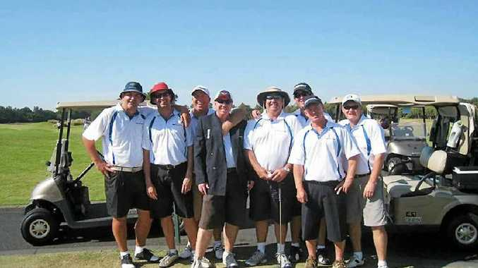 The late Shaun Kelly, far right, with some of his golf mates on one of their annual golfing tours, this one to Hope Island.