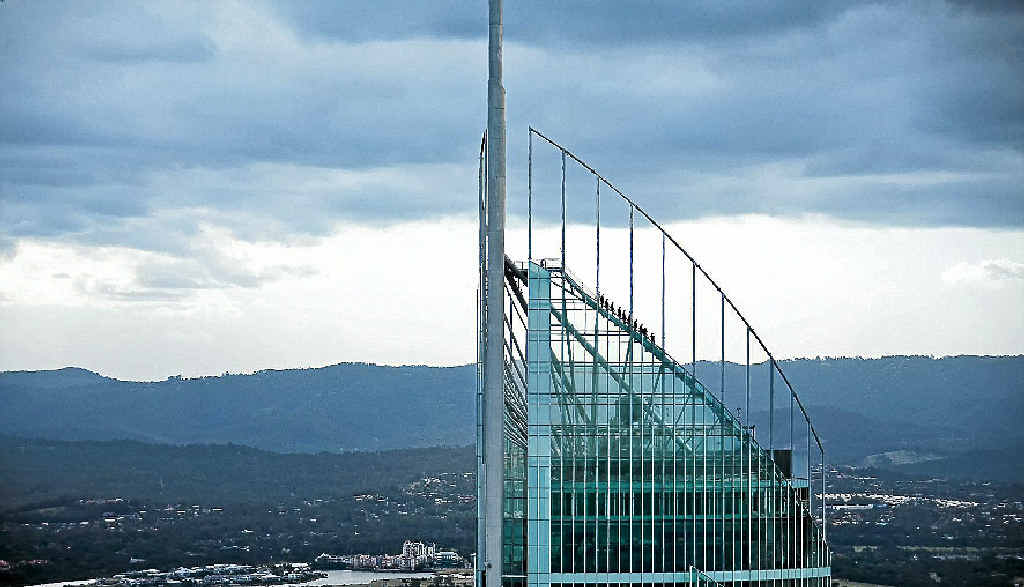SKYPOINT: Climbers head up and up on the Q1 SkyPoint Climb, 270m above Surfers Paradise.