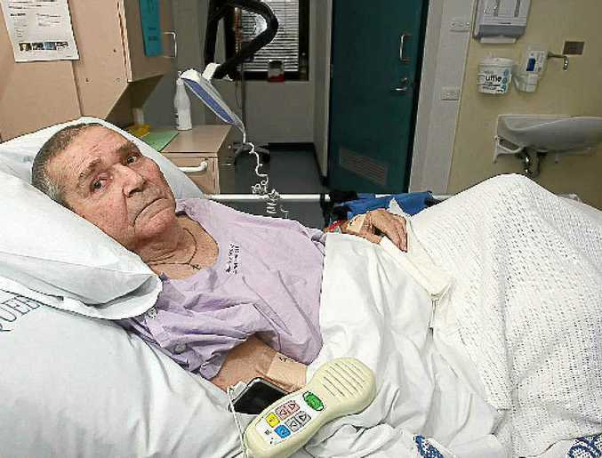 Rob Hackney recovers in Nambour General Hospital from the hit and run at Aroona.