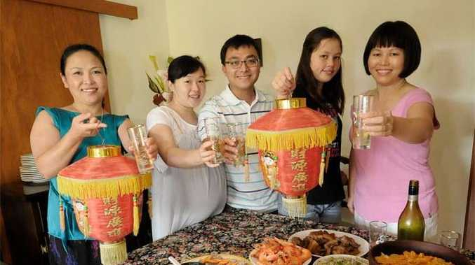 Northern Rivers residents celebrate Chinese New Year with a celebratory dinner in Lismore (From Left) Yue Qu, Xi Liu, Lei Liu, Yuan, and Xia Trembath.