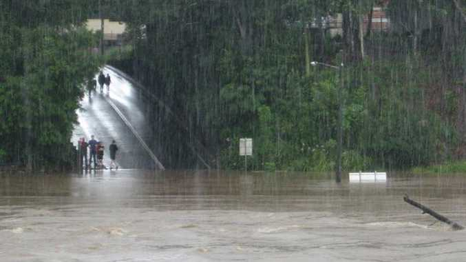 The Bellingen Bridge is nowhere to be seen as water levels hover around 7.3 metres