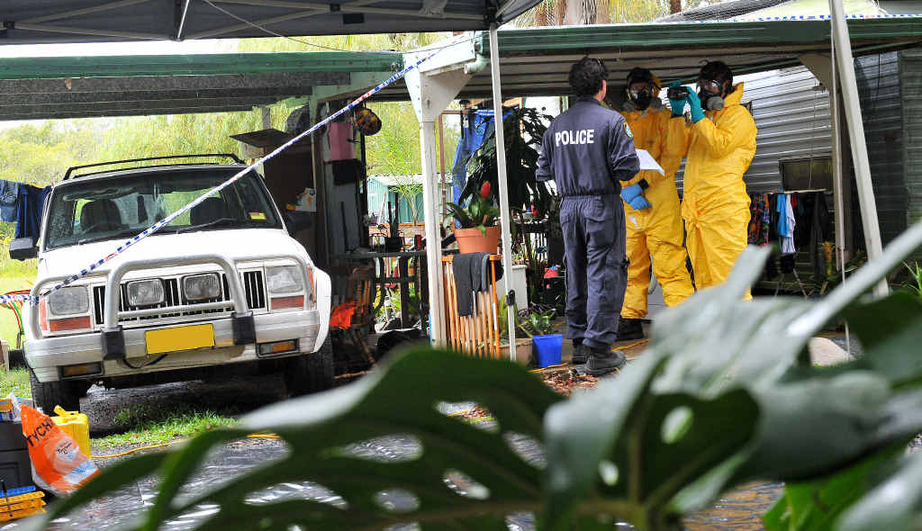 The drug lab was uncovered in a villa at a Boambee caravan park.