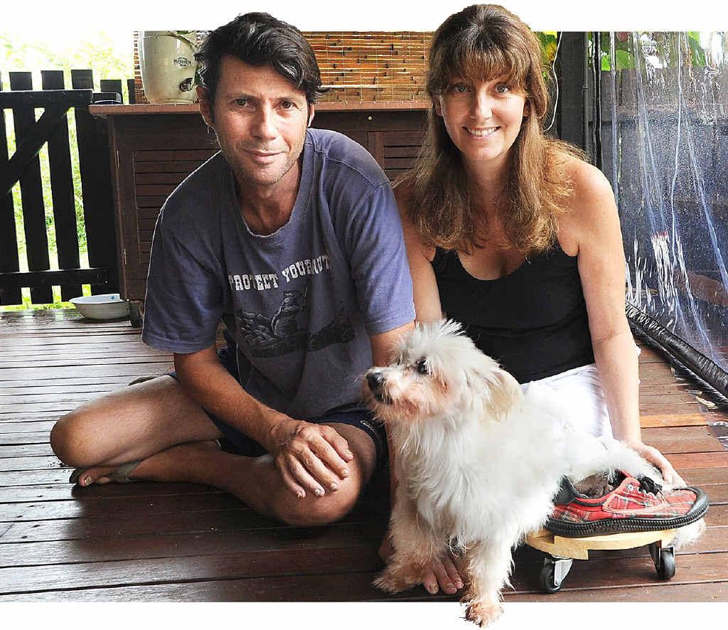 Maryborough's Chris and Claudia Rumble also built their dog Basil a custom skateboard for inside.