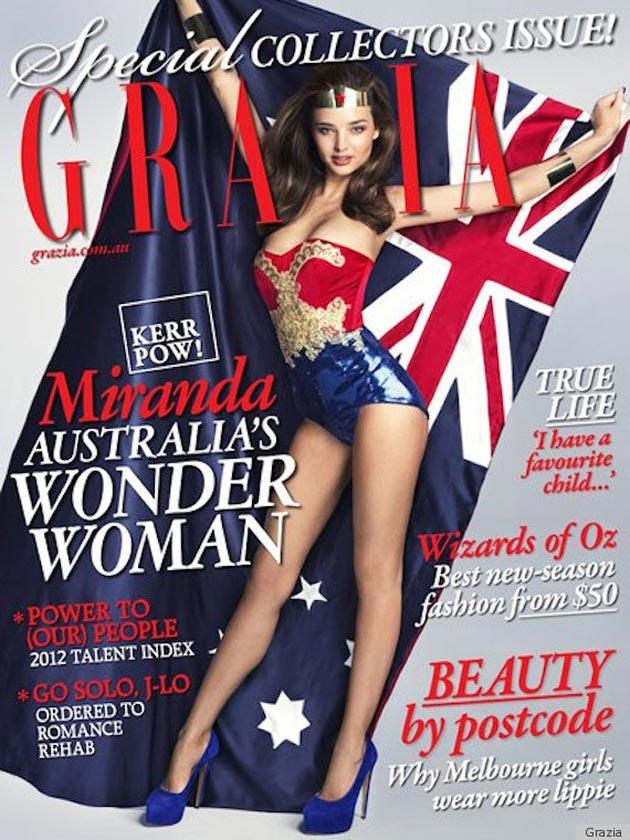 Miranda Kerr poses as Wonder Woman for the Australia Day issue of fashion magazine Grazia.