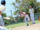 Reserve Grade Cricket, Yaralla vs The Glen at Yaralla. Yaralla bowler Aaron Barrett bowls to the Glens Hayden Warwick.