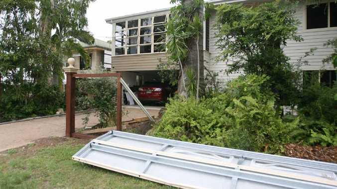 A damaged garage door has been removed from Robert Schwarten's home after a car was allegedly rammed into it on Tuesday.