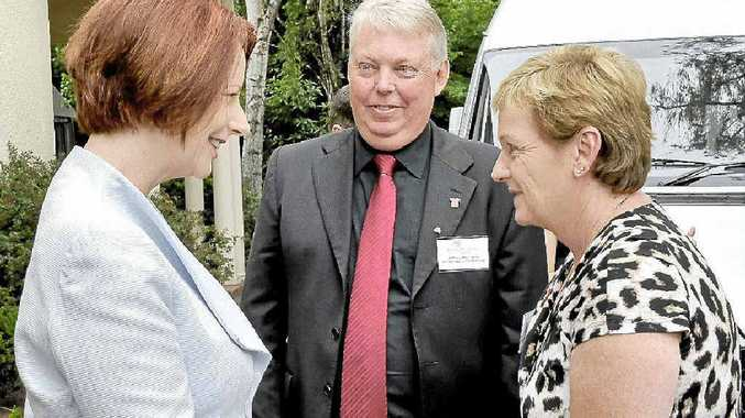 Bruce and Denise Morcombe speak to Prime Minister Julia Gillard at the Lodge in Canberra.