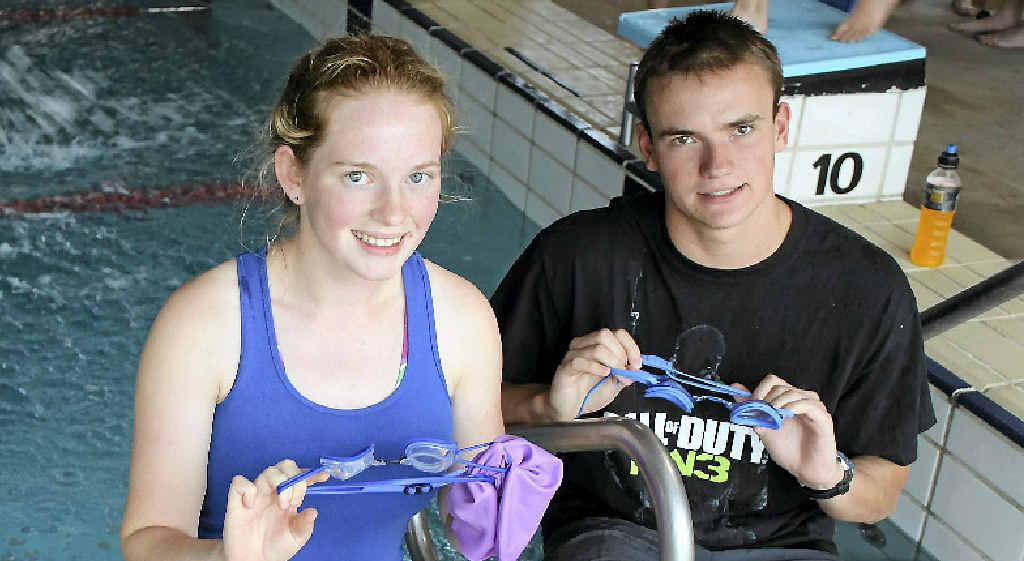 Emma Walton and Ben Batten prepare for the Stanthorpe Australia Day Triathlon.