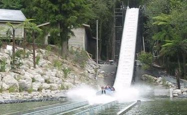Some of the first children to experience Rainbow Springs' new ride make a splash after plunging down the 12-metre drop at its conclusion.
