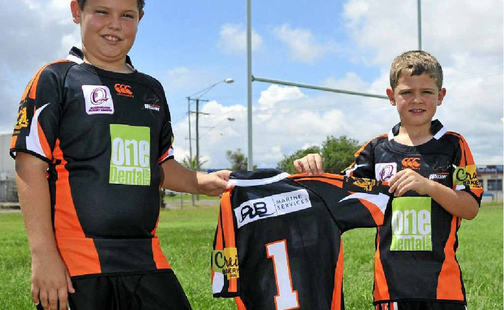 Tallis Farrar, 9, left and Will Webster, 5 are signing up for this year's season with the Wallabys.