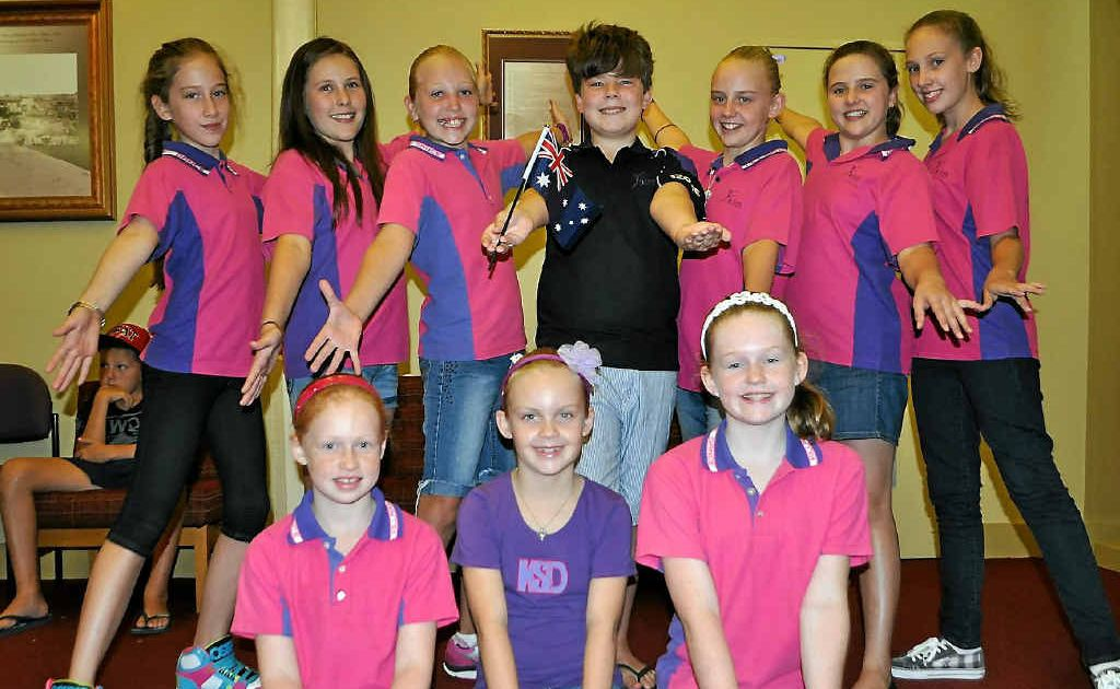 Killarney Dance Troupe members Georgia Tumata, Kassie Peel, Maddie Farrell, Lachlan Doherty, Alexis Carey, Annalise Haidley, Jazzie Spiller, (front) Faith Kelly, Hayley Carey and Eve Kelly.