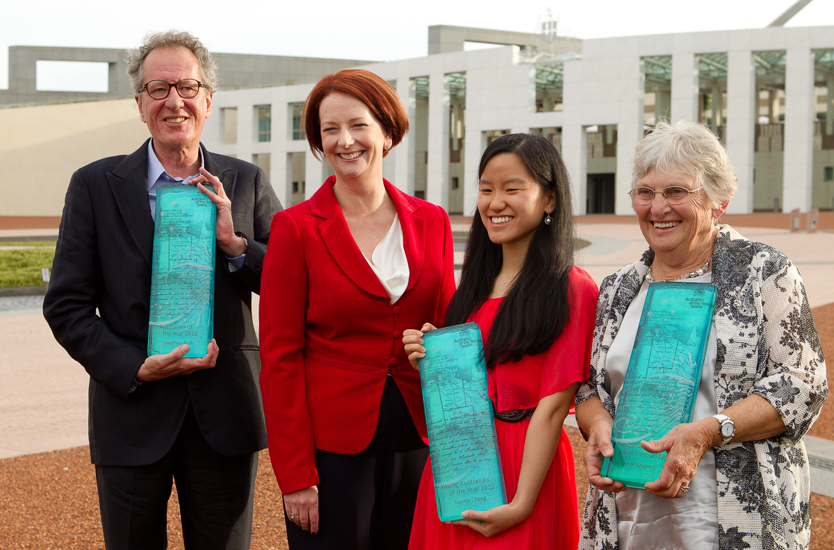 L-R; Australian of the Year Geoffrey Rush, Prime Minister Julia Gillard, Young Australian of the Year Marita Cheng and Australia's Local Hero for 2012 Lynne Sawyers pose for a portrait outside Parliament House Canberra 25th January 2012.