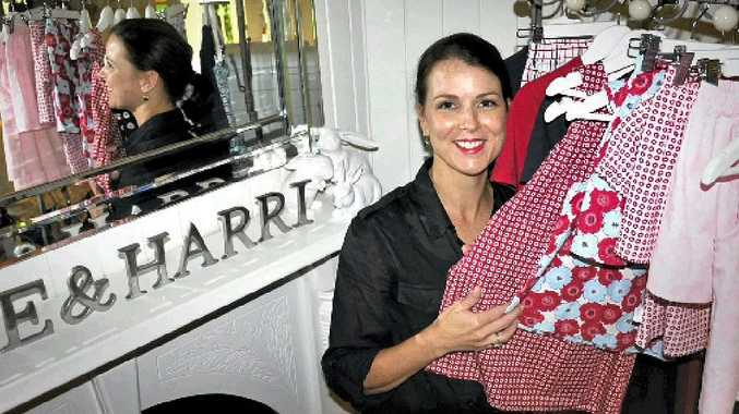 Toowoomba mum Angela Smith runs her own children's sleepwear business Rube & Harri from home.