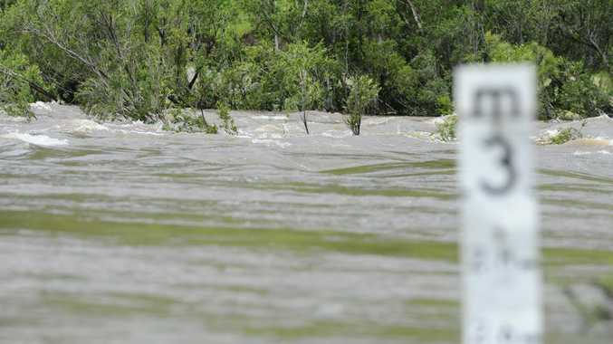 Flooding over the Cangai Bridge crossing.