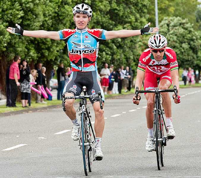 Jay McCarthy celebrates his stage two win in the New Zealand Cycle Classic.