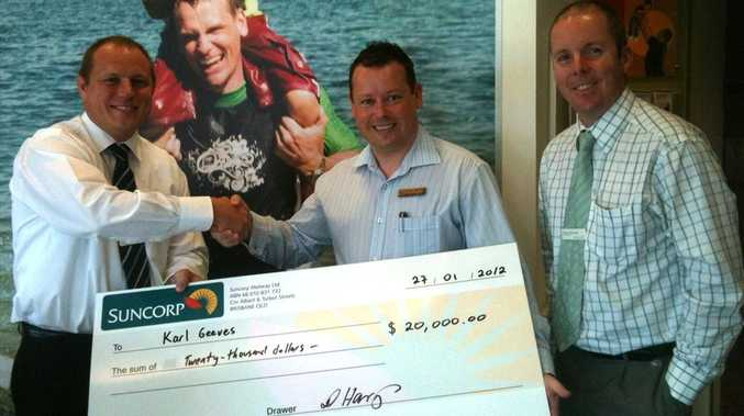 (L-R): Suncorp Bank executive manager business banking David Harrys, Mega Boost winner Karl Geeves and Maroochydore branch manager Andrew McDougall.
