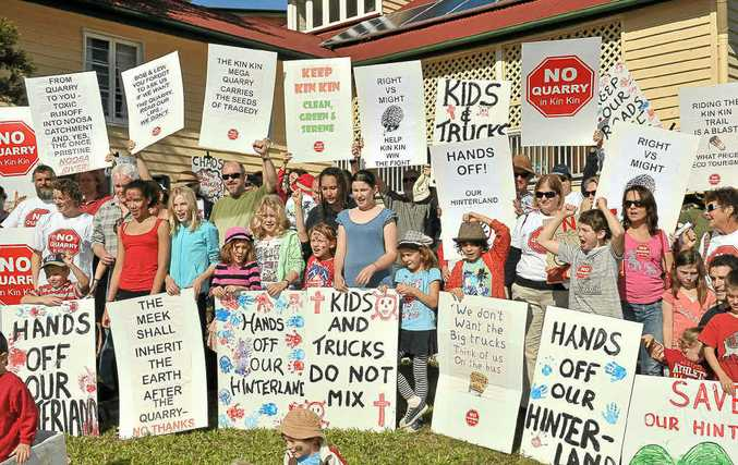 ANGRY RESIDENTS: A protest rally in Pomona against the proposed Kin Kin quarry.