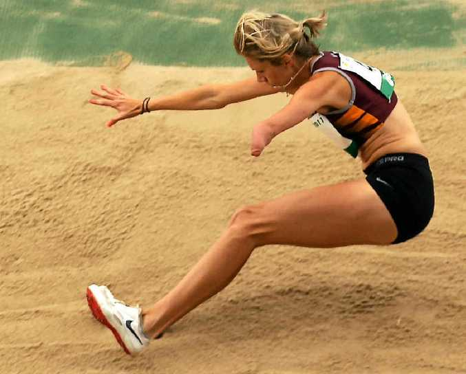 Carlee Beattie competes in the women's long jump ambulant at the Australian Athletics National Championships last year.