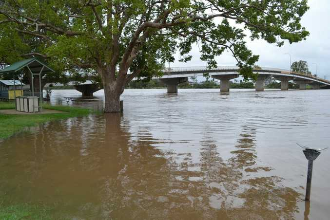 MISSING PICNIC TABLE: During last week's rains the Richmond River at Woodburn peaked at 3.28m covering the picnic table nearest the water. Photo Samantha Elley / Rivertown Times