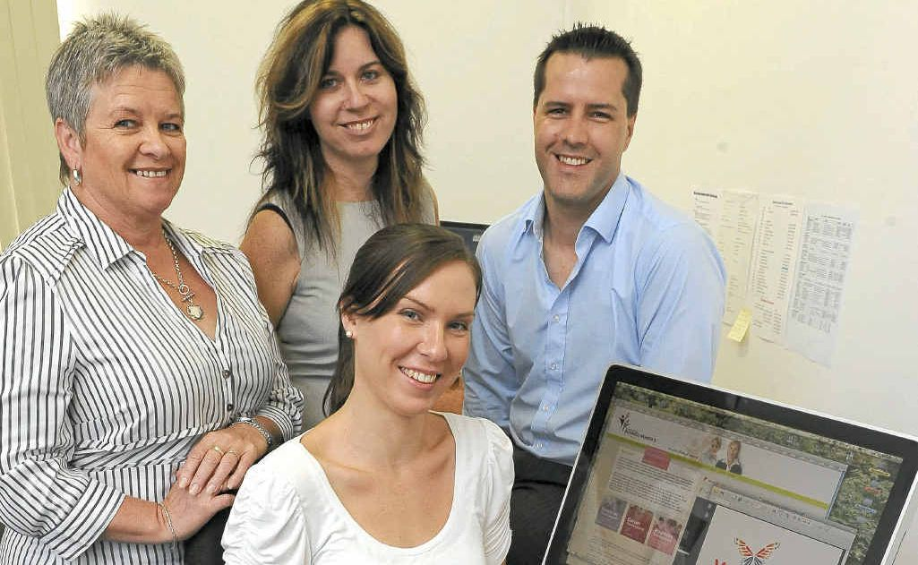 Graphic designer Aimee Bretell with president of the Bundaberg Business Women's Network Betty Lappin, communications officer Angela Nightingale and web developer Jon McPherson.