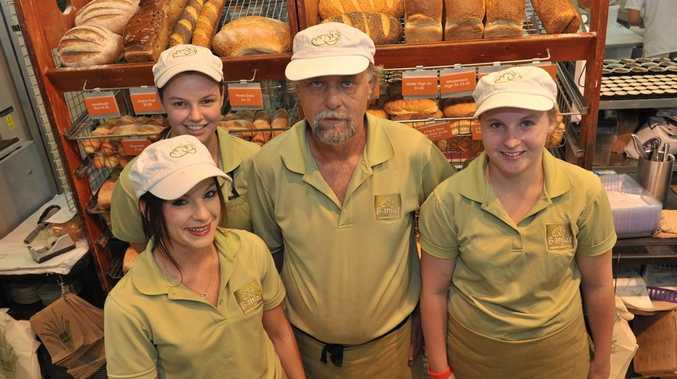 Larry Wraight with Nicola Hayman, Monique Hope and (front) Skye Wallis of Banjo's Bakehouse in Maroochydore.