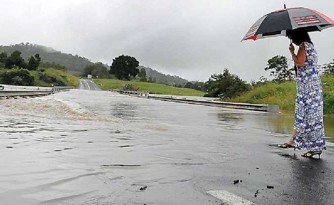 A flooded Traveston Crossing Bridge last week.