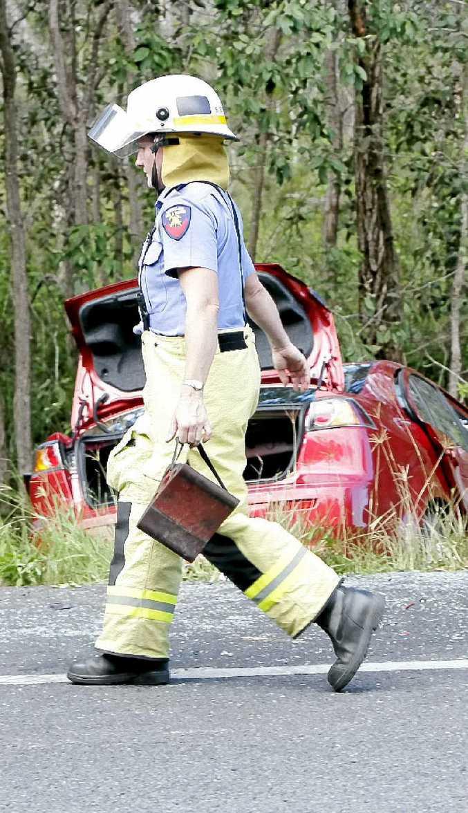 The scene of a collision on Steve Irwin Way near Beerburrum.