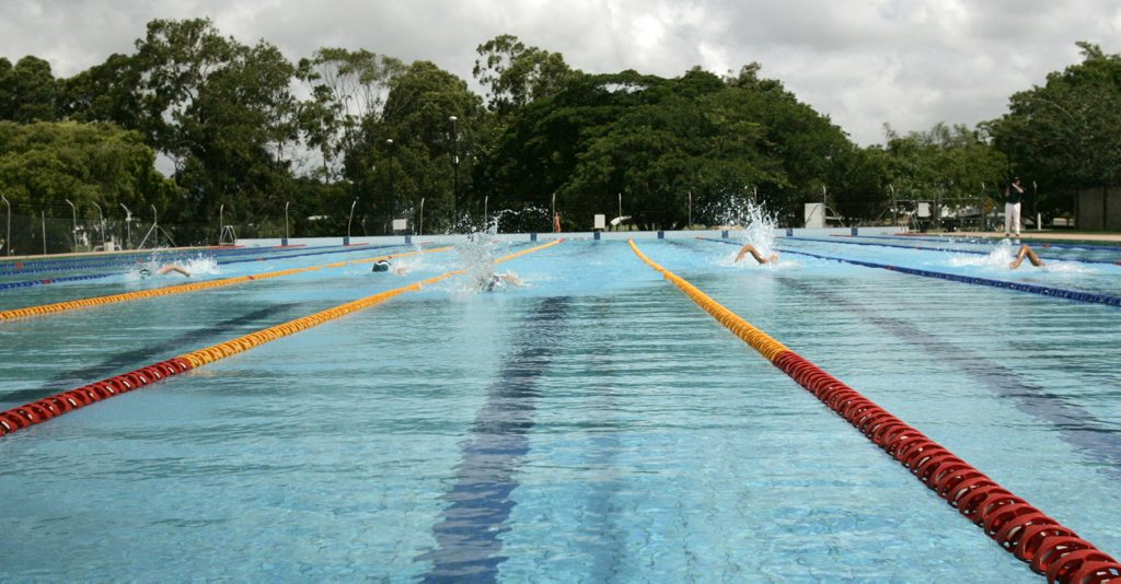 First swimmers complete a lat at the official opening of the first stage of the World War II Memorial Pool's redevelopment. Rockhampton Southside Pool.