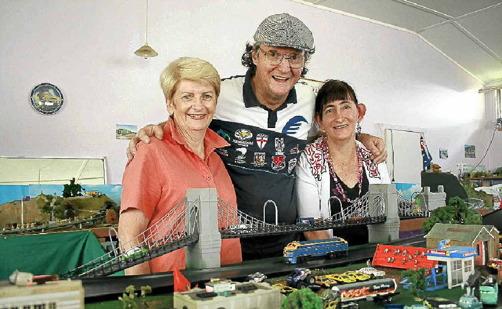 Port of Yamba Historical Society president Marea Buist (left) is happy to benefit from the generosity of David and Rhonda Lorenzo from Harwood's model train display.
