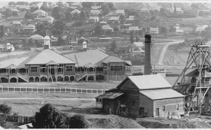 Gympie State High School with a mine in the foreground.